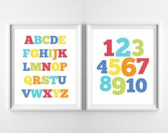 "Alphabet Print & Numbers Art Print, Nursery Decor, Children Wall Art Decor, TWO Alphabet and Numbers, ABC Digital Instant Download 8x10"""