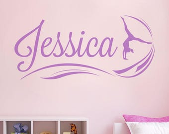 Gymnast With Name Wall Sticker Decal Art