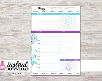 A5 Planner Printable - Daily Inserts - Filofax A5 - Kikki K Large - Design: Chasing Dreams