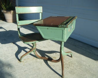 Vintage School Desk Swivel Seat Ink Well Pencil Tray 1930's