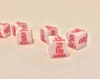 Dice with Periodic table of elements theme