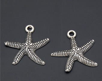 30pcs Antique Silver Starfish Charms Pendant A2325