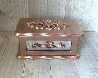 Rose Gold Jewelry Box, Small Jewelry Box, Hand Painted Jewelry Box, Up Cycled/Refurbished Jewelry Box.