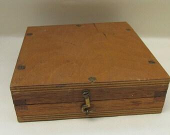 Vintage Slim Wooden Hinged Box Case
