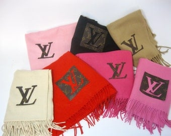 Cashmere Scarf! Louis Vuitton upcycled Cashmere scarf! warm, soft, fuzzy and cozy cashmere wool!