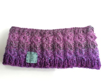 purple marbled wool hand knitted canle head band/ear warmer