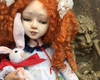 OOAK Polymer Clay Art Doll Alice in Wonderland with Bunny