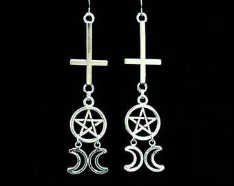 UNHOLY GODDESS, long hanging earrings, inverted cross earrings, pentagram, crescent moon, satanic jewelry, upside-down cross, gothic, witchy
