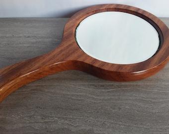 Wood hand mirror, bubinga