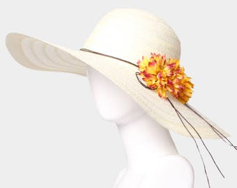 Ivory Wide Brim Flower Straw Floppy Sun Hat