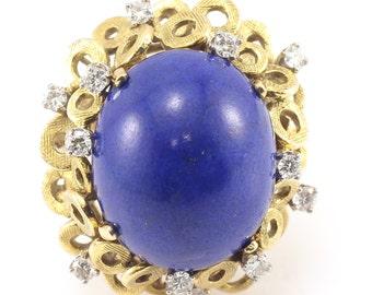 18K Vintage Diamond Lapis Ring Yellow Gold Estate