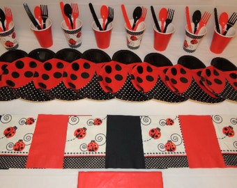 49 Piece Lady Bug Shape Place settings Table Decorations Party Supplies