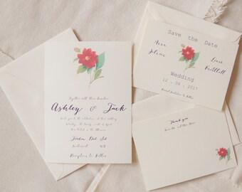 Printable or Printed - Camellia wedding - Floral wedding - Vintage wedding - botanical wedding - garden wedding - red flower wedding