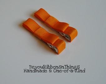 Orange Hair Clips for Girls Toddler Barrette Kids Hair Accessories Grosgrain Ribbon No Slip Grip Halloween