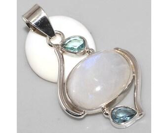 Rainbow Moonstone Pendant with Blue Quartz 925 Sterling Silver 925 Silver Pendant with Moonstone and blue quartz