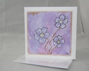 Greeting Card - Flowers and Gold