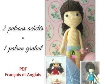 DUO PATTERN doll + clothe skater, DUO patron poupée + vêtement patineuse