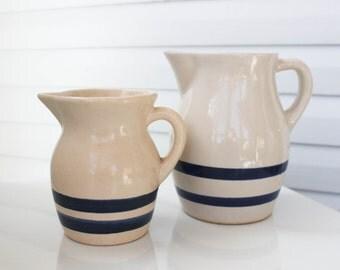Vintage Pair of Farmhouse Pottery Blue Stripe Roseville Pitchers-Antique Water Jug-Primitive