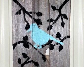 Reclaimed wood art, Bird on a branch art, rustic wall art