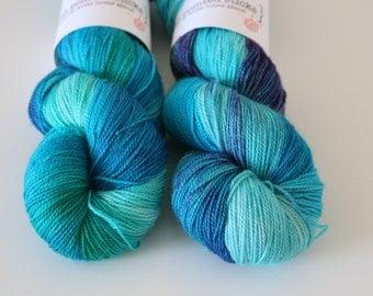Mermaid - Glitter Gel Pen fingering weight sock yarn