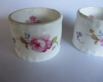 Pair vintage Coalport English bone china napkin rings, Pink roses, forget me nots etc. Wedding, top table, bridal shower. Roses, gilding.