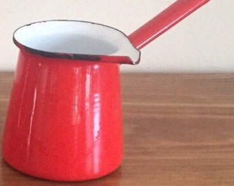 Red and White Enamel Turkish Coffee Maker or Butter Warmer