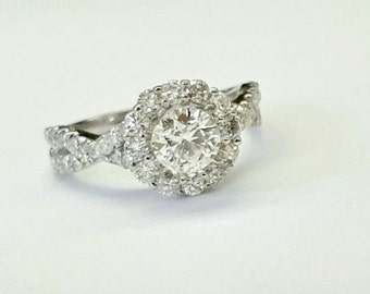 1.63 TCW GIA Certified Round Diamond 14k White Gold Halo Engagement Ring