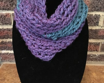 Teal and purple infinity scarf