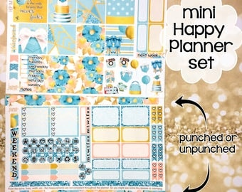 Tiffany's Blue Box weekly kit / set - for MINI HAPPY PLANNER stickers - Popcorn gold glitter spring summer blue green