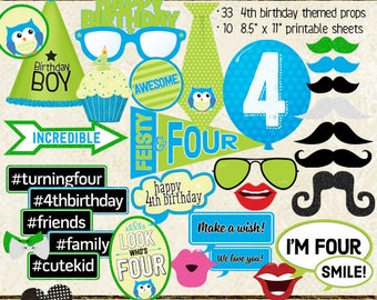 Photo Booth Props, HAPPY 4TH BIRTHDAY, boy, printable sheets, instant download, diy, party planning, blue, green, cyan, lime