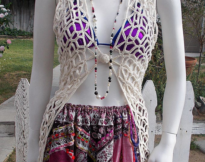 Vintage 90s My Hippie Chic Festival Womens Creme White Crochet Sleeveless Cardigan Button Sweater Cover-up Long Vest
