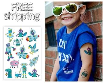 "Kids temporary tattoos ""Trendy robots"". Cartoon retro old school style tatts with rocket, spaceman, astronaut, pig, dog, fish robots. TA033"