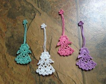 angel bookmark, ornament, charm, handmade crochet lace, 4 for 10