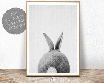 Rabbit Tail Print, Woodland Baby Shower Decor, Bunny Butt, Nursery Baby Animal Wall Art Prints, Large Printable Poster, Digital Download