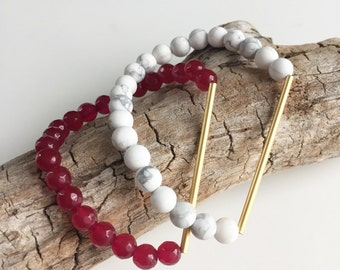 White howlite and gold-plated bar bracelet