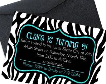 Kids Party Invites, Girl Party Invites, Girls Birthday Invitation, Birthday Invites, Girls Birthday Invitations, Zebra Theme, 5x7 Printable