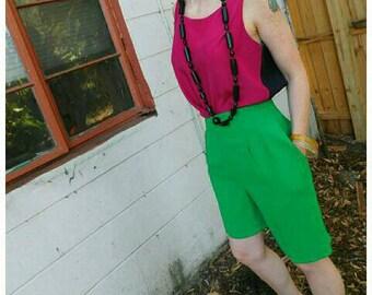 Vintage Sparkly Green Bermuda Polyester Shorts