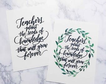 TEACHERS Plant the Seeds of Knowledge - Digital Download - Quote Art Print Downloadable Art Quote Teacher Appreciation Gift