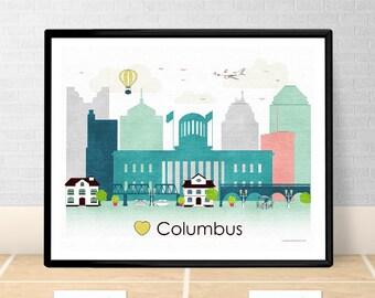 Columbus Poster print Wall art Columbus Ohio Columbus skyline OH City poster printable download Home Decor Digital Print GreenGreenDreams