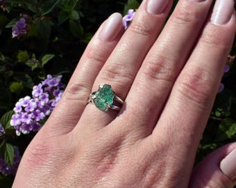 Large Raw Emerald Ring, Natural Gemstone, Uncut Emerald, Genuine Emerald, Rough Jewelry, Raw Jewelry, Emerald Jewelry, Custom Made Jewelry