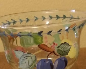 Hand painted bowl a with Lemons, blueberries and cherries
