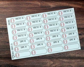Baseball Planner Stickers, For use with Erin Condren Life Planner, Plum Paper Planner