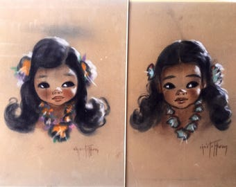 Gerda Christofferson Original Pastels Unframed As Is Papoose Art Midcentury Set of 2 sold together