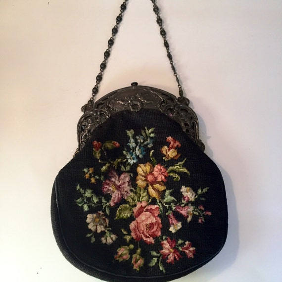 Needlepoint Handbag Medium with Repoussee metal chain handle and clasp Amazing detail