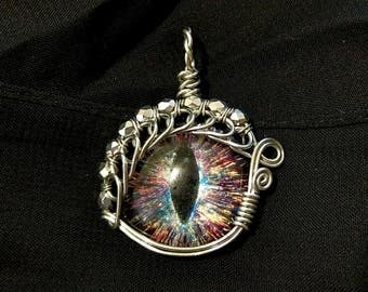 """Multicolor """"Galactic Chaos"""" Hand-Painted Dragon Eye Pendant w/Silver Beaded Wire Wrap (with Necklace)"""