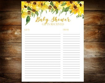 Baby Shower Gift List - List of Received Gifts - Shower Gift List - Sunflower Baby Shower - Baby Shower Printable List - SF01