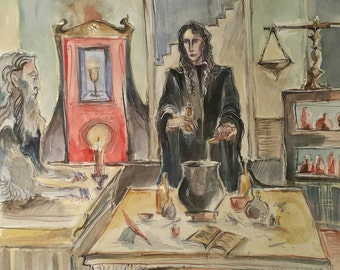 Brewing Potions with the Blue Sphinx in the Alchemist Laboratory Original Alchemic Illustration Magic Class Sorcery Symbols White Black Red