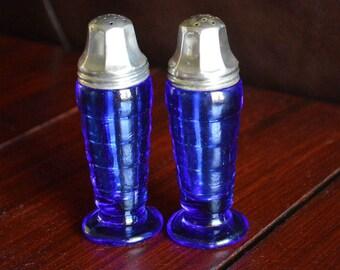 Vintage Hazel Atlas Cobalt Blue Salt and Pepper Shakers