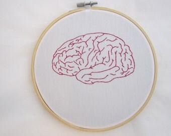 Pink Brain Embroidered Hoop Art