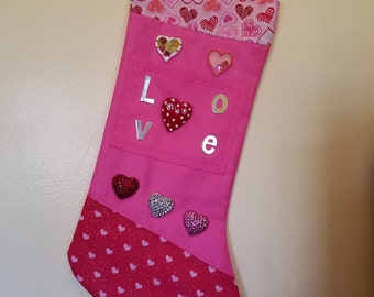 "Valentine ""I LOVE U"" stocking"